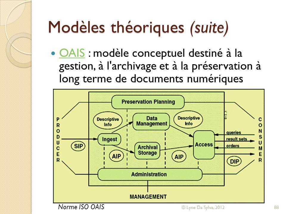 Modèles théoriques (suite)