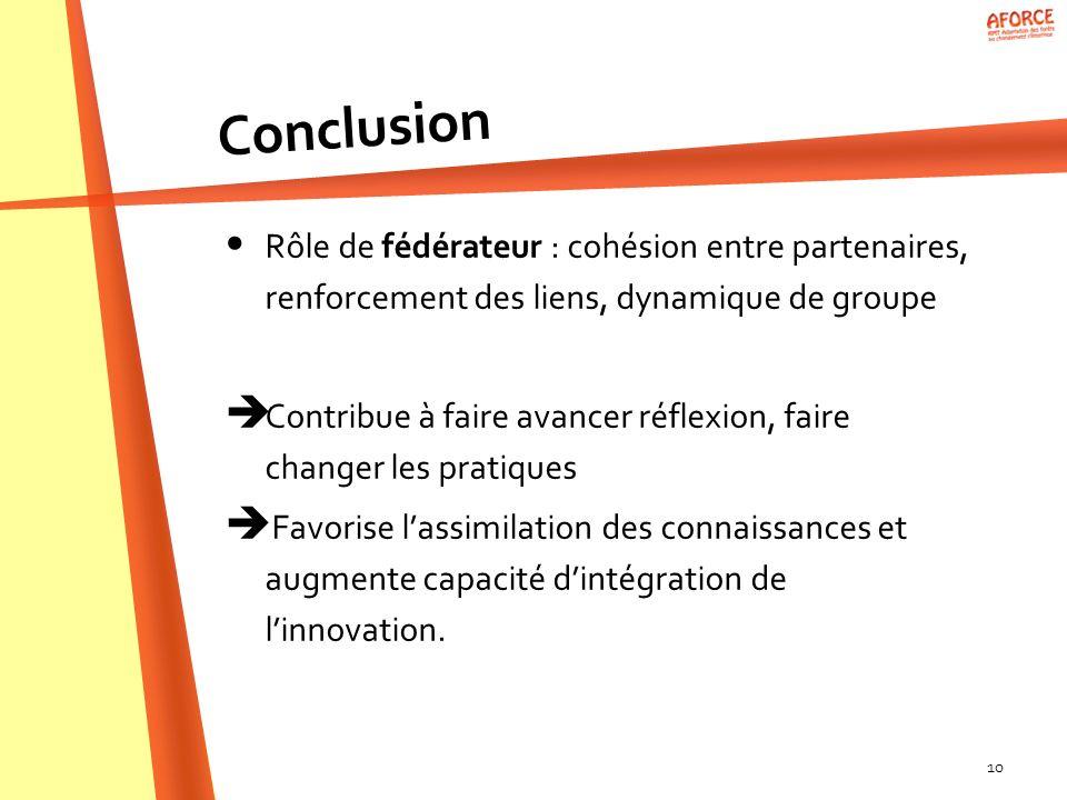 Conclusion Rôle de fédérateur : cohésion entre partenaires, renforcement des liens, dynamique de groupe.