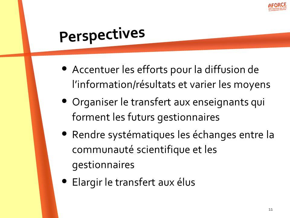 Perspectives Accentuer les efforts pour la diffusion de l'information/résultats et varier les moyens.