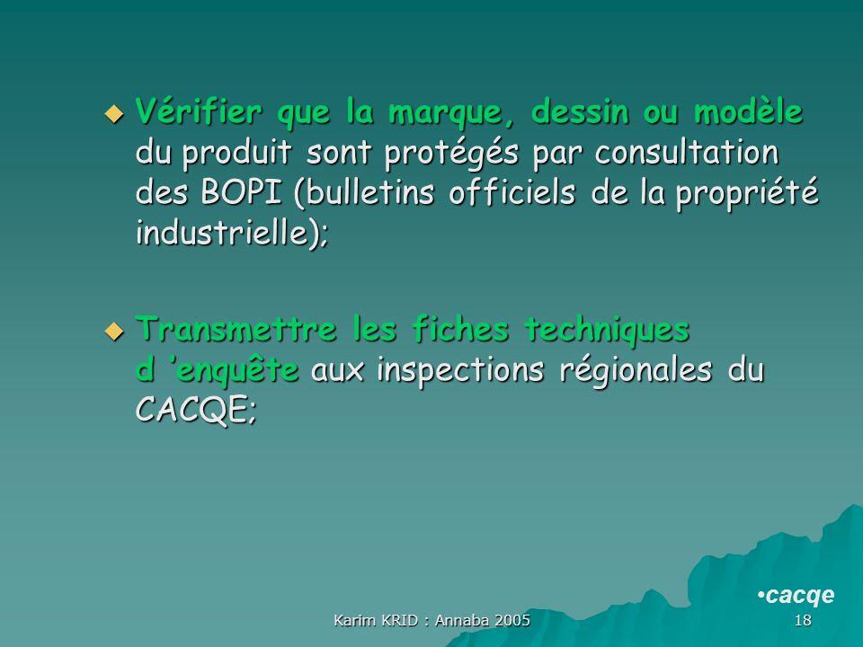 Vérifier que la marque, dessin ou modèle du produit sont protégés par consultation des BOPI (bulletins officiels de la propriété industrielle);