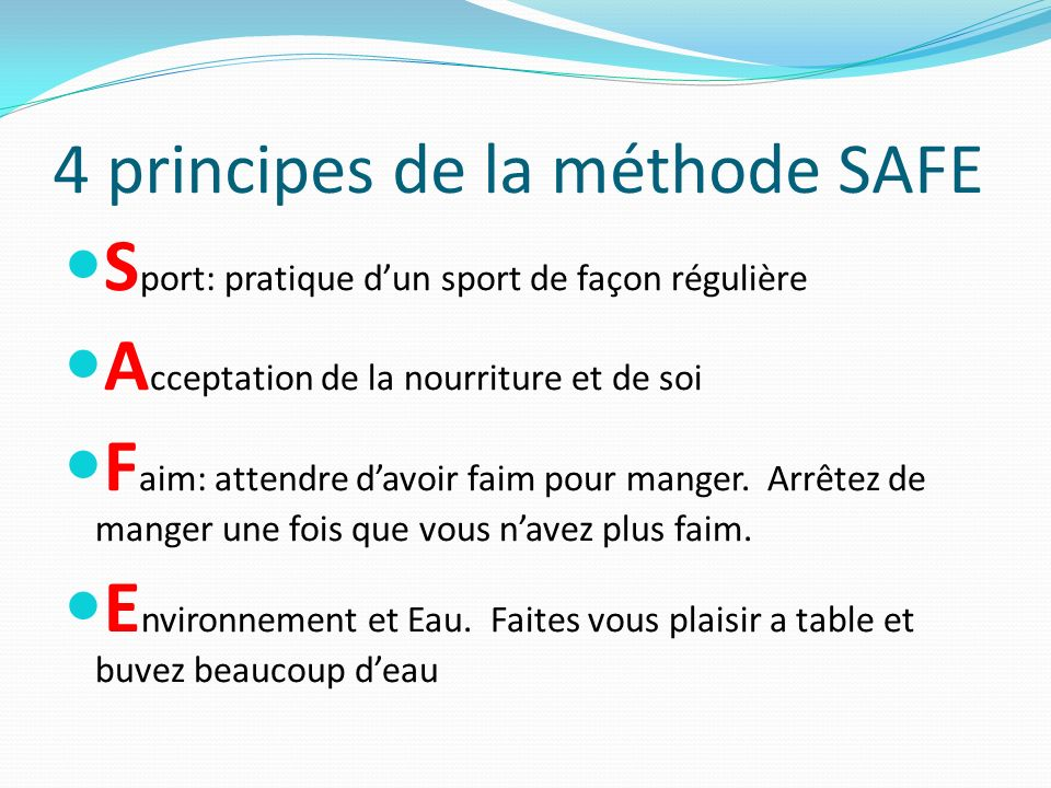 4 principes de la méthode SAFE