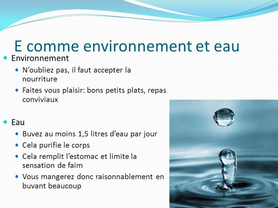 E comme environnement et eau