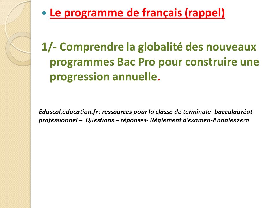 Le programme de français (rappel)