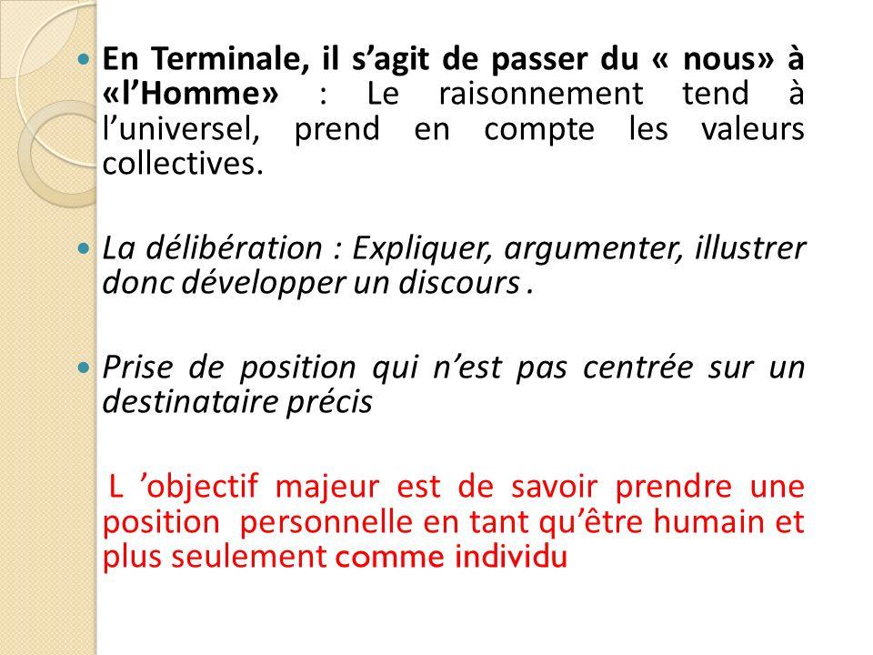 En Terminale, il s'agit de passer du « nous» à «l'Homme» : Le raisonnement tend à l'universel, prend en compte les valeurs collectives.