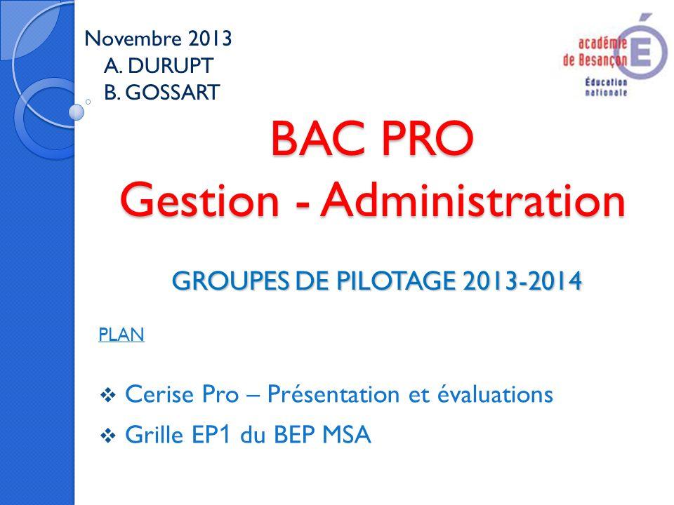 BAC PRO Gestion - Administration GROUPES DE PILOTAGE 2013-2014