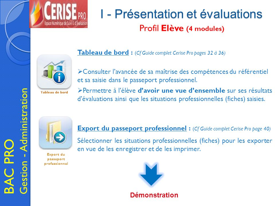 I - Présentation et évaluations