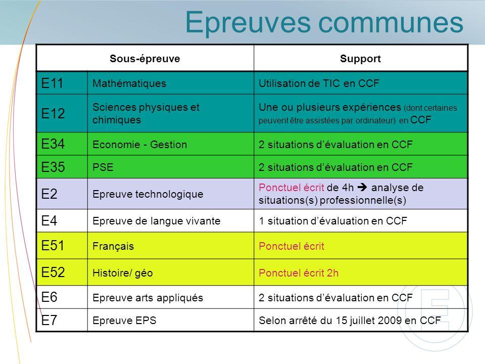 Epreuves communes E11 E12 E34 E35 E2 E4 E51 E52 E6 E7 Sous-épreuve