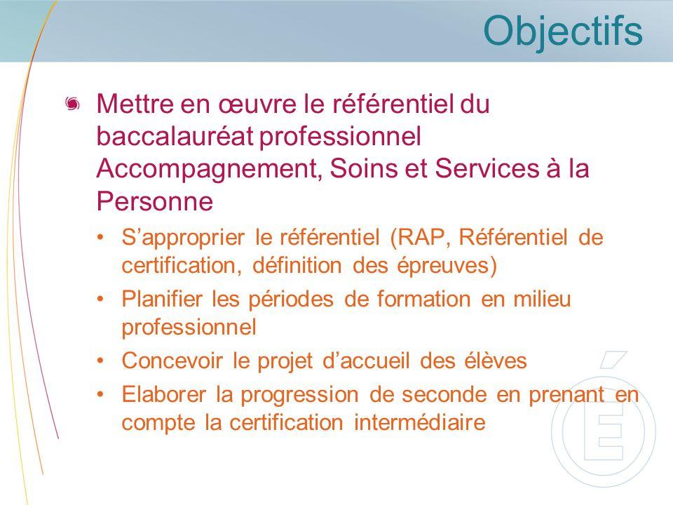 Objectifs Mettre en œuvre le référentiel du baccalauréat professionnel Accompagnement, Soins et Services à la Personne.