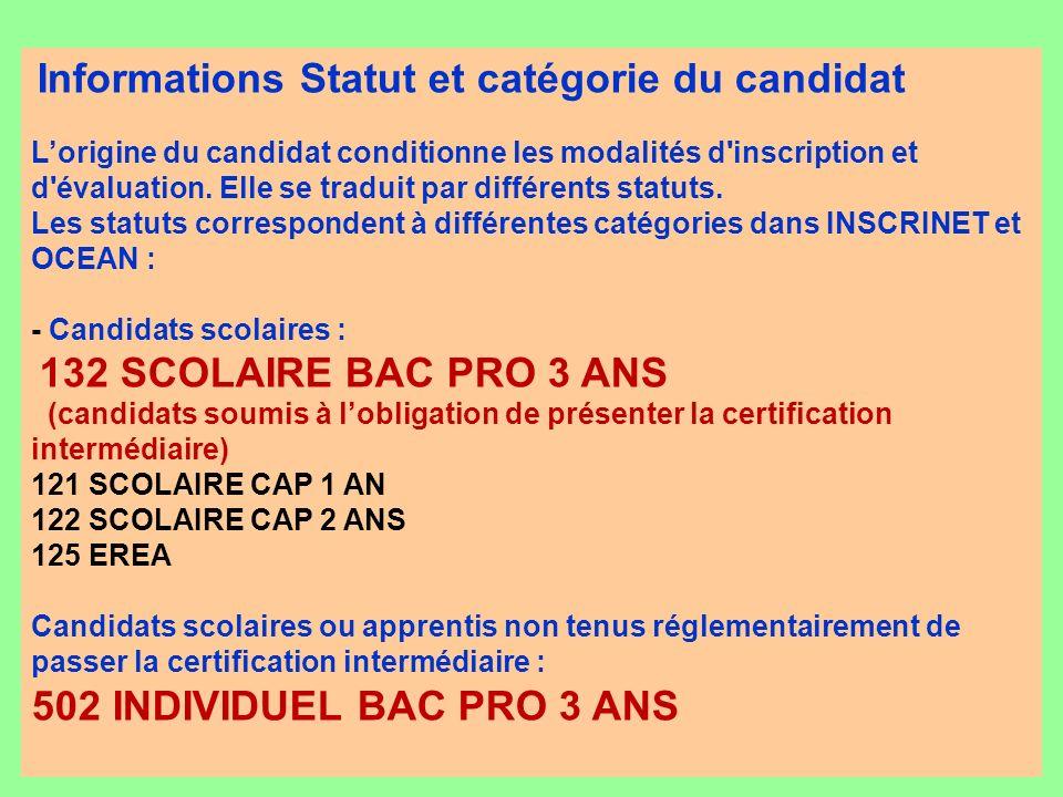 Informations Statut et catégorie du candidat