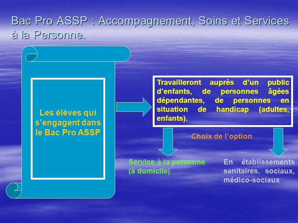 Bac Pro ASSP : Accompagnement, Soins et Services à la Personne.