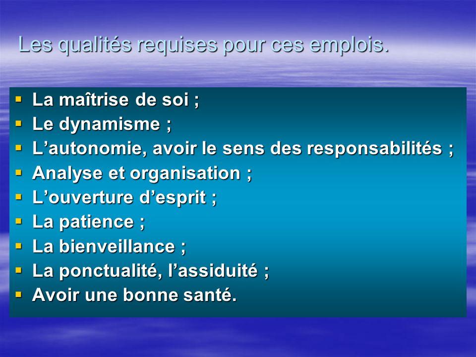 Les qualités requises pour ces emplois.