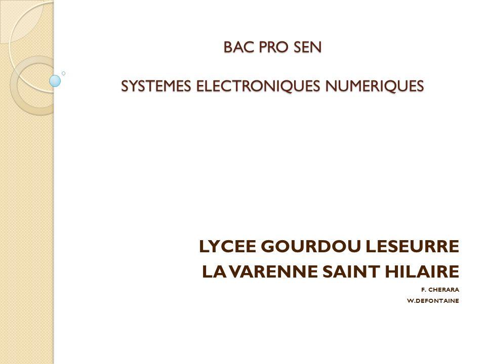 BAC PRO SEN SYSTEMES ELECTRONIQUES NUMERIQUES