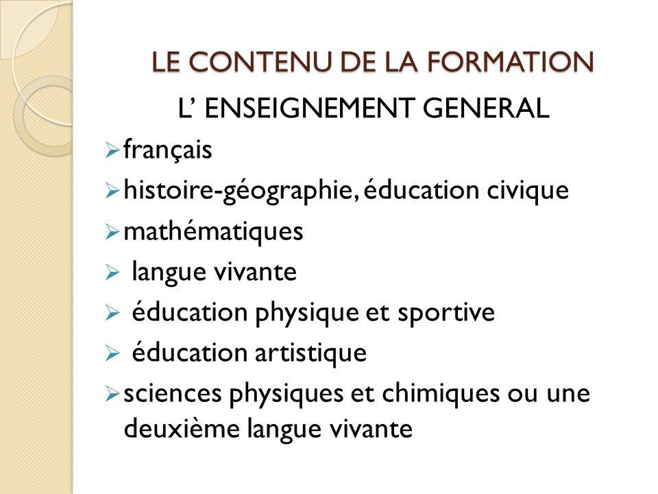 LE CONTENU DE LA FORMATION