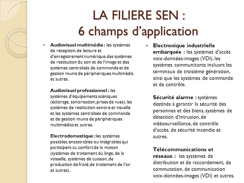 LA FILIERE SEN : 6 champs d'application