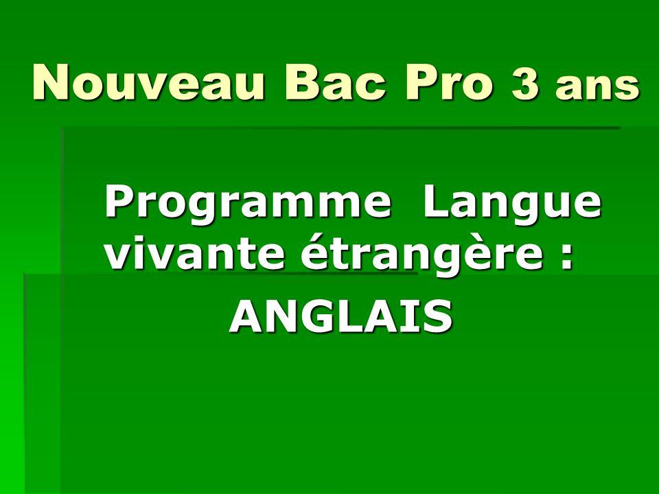 Programme Langue vivante étrangère : ANGLAIS