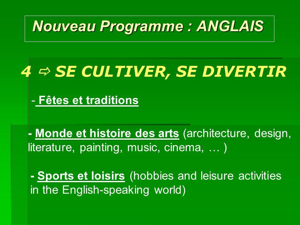 Nouveau Programme : ANGLAIS