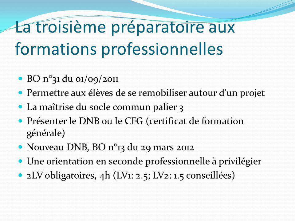 La troisième préparatoire aux formations professionnelles