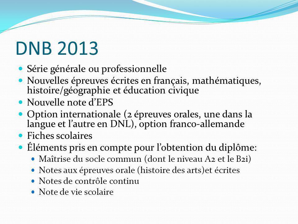 DNB 2013 Série générale ou professionnelle