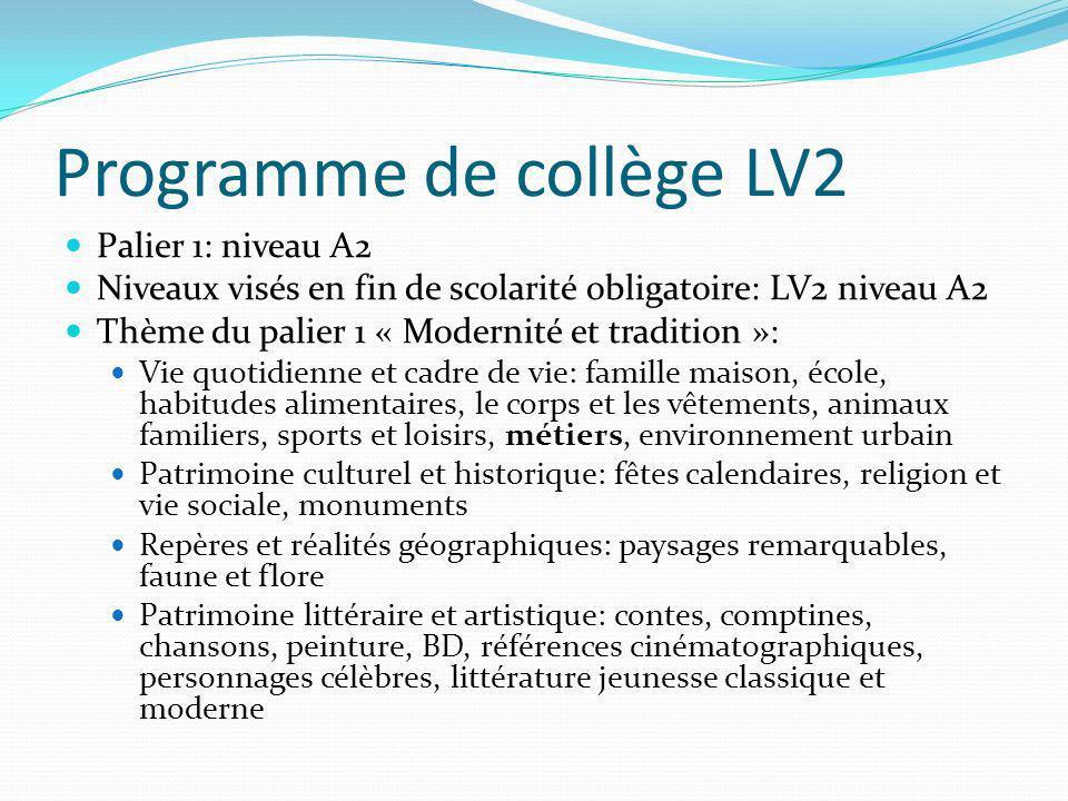 Programme de collège LV2