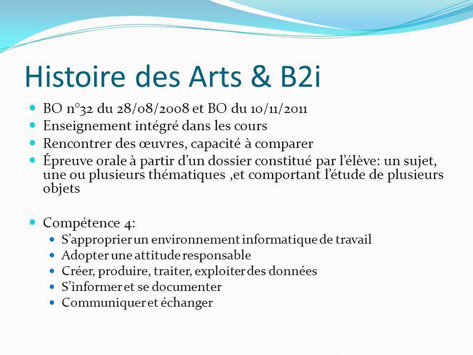 Histoire des Arts & B2i BO n°32 du 28/08/2008 et BO du 10/11/2011