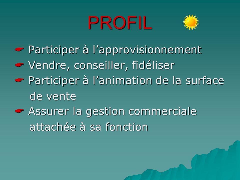 PROFIL  Participer à l'approvisionnement