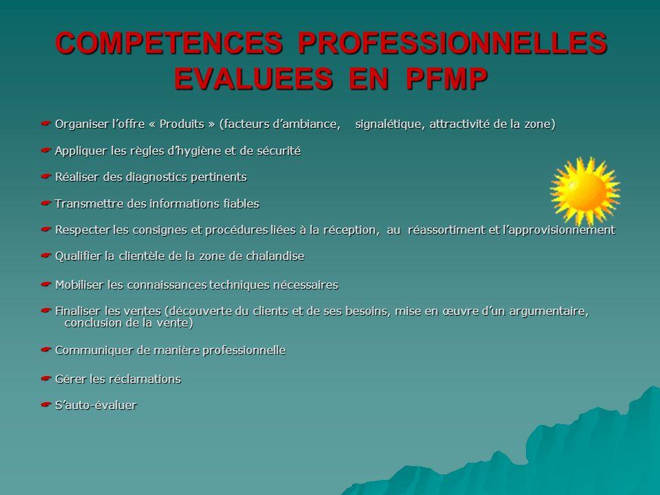COMPETENCES PROFESSIONNELLES EVALUEES EN PFMP