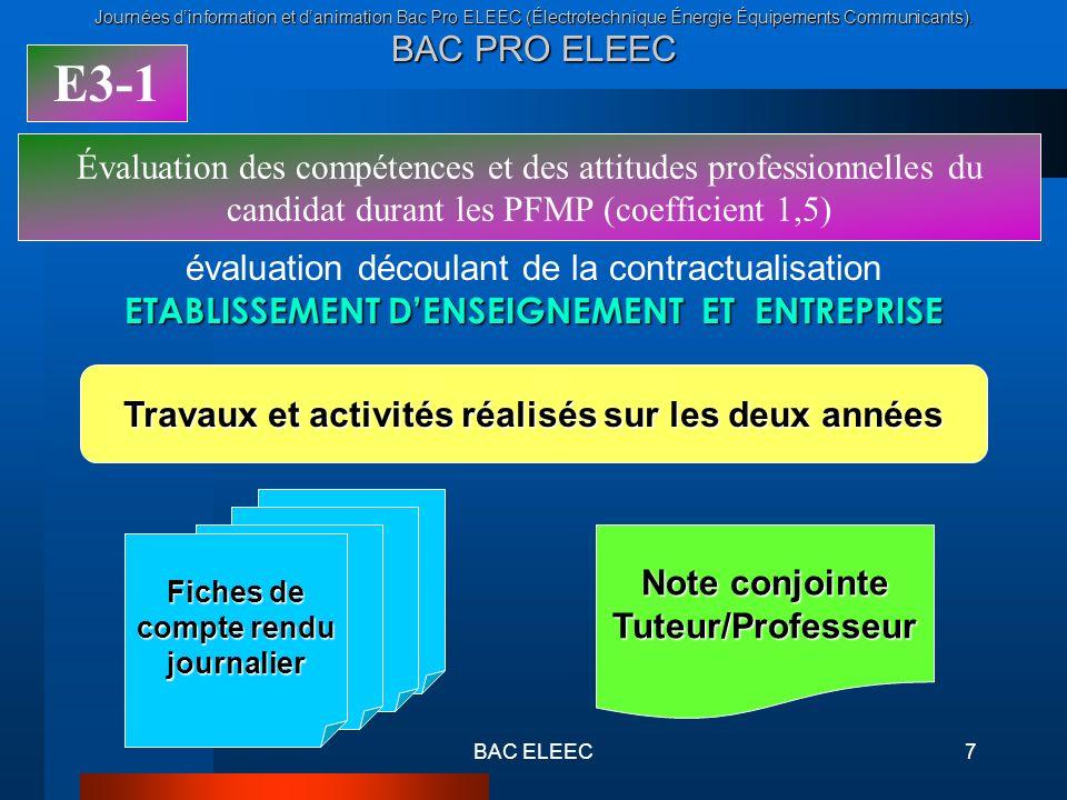 E3-1Évaluation des compétences et des attitudes professionnelles du candidat durant les PFMP (coefficient 1,5)