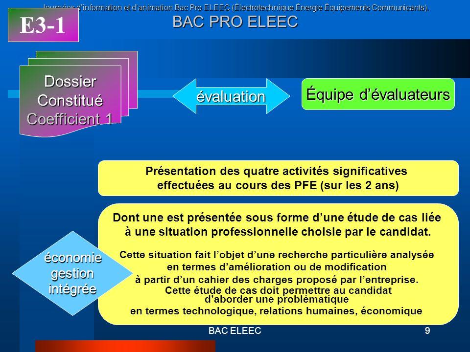 E3-1 Dossier Constitué Coefficient 1 évaluation Équipe d'évaluateurs
