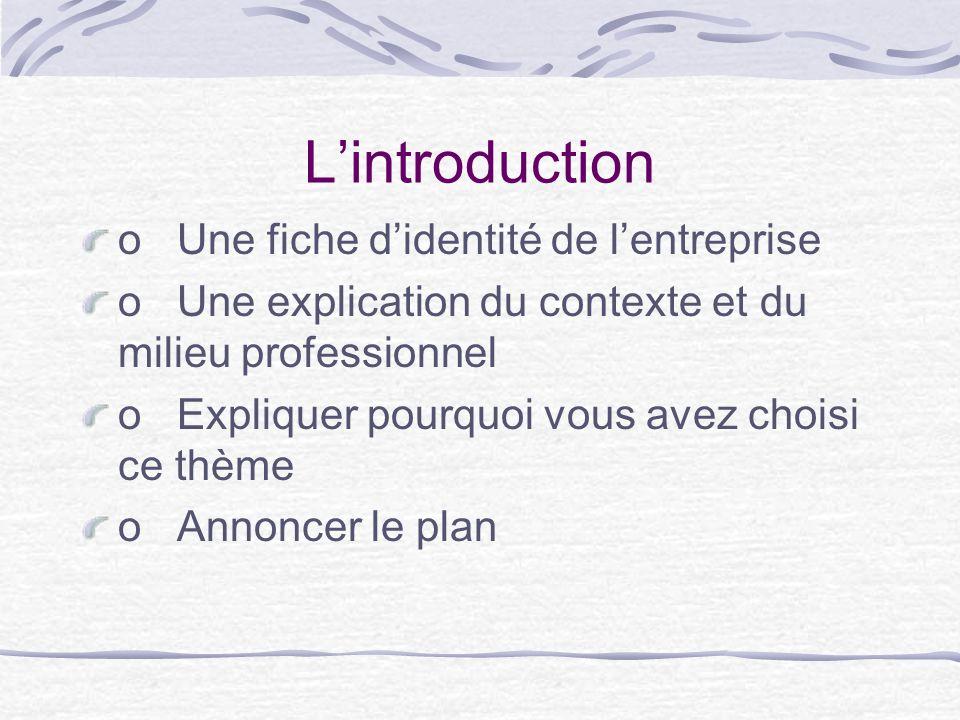 L'introduction o Une fiche d'identité de l'entreprise