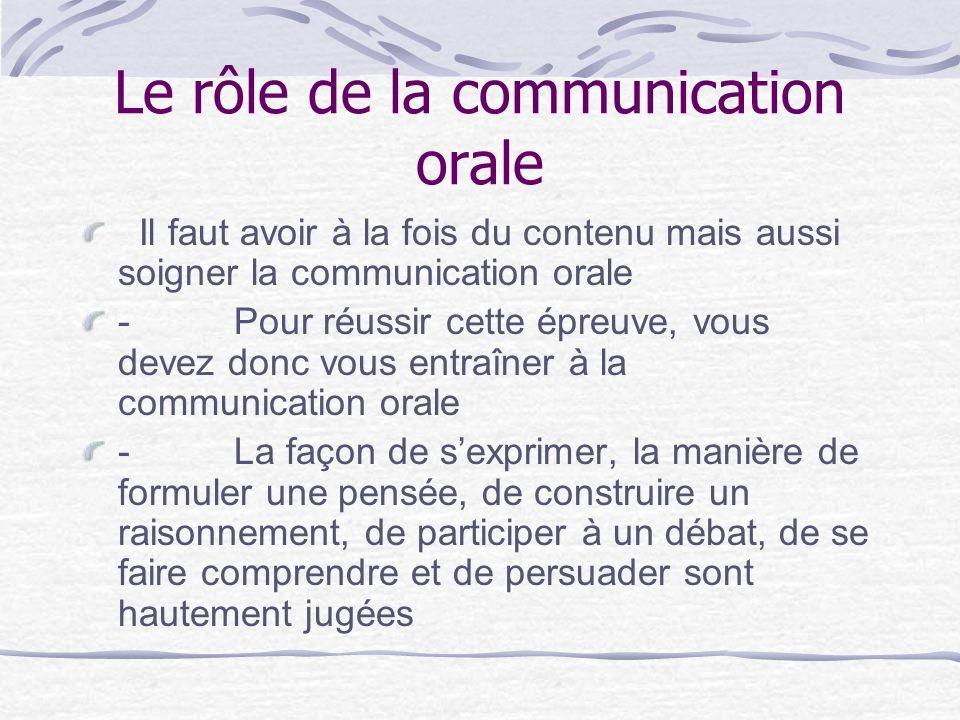 Le rôle de la communication orale