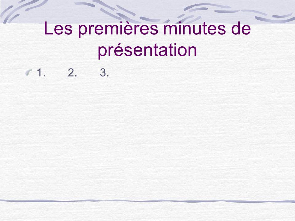 Les premières minutes de présentation