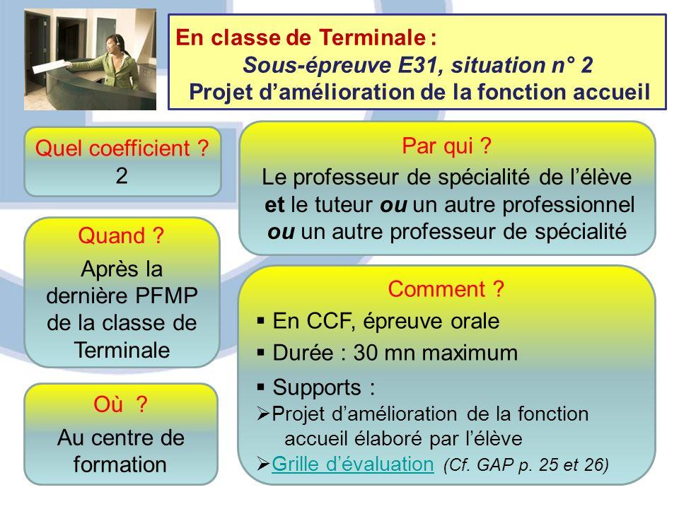 En classe de Terminale : Sous-épreuve E31, situation n° 2