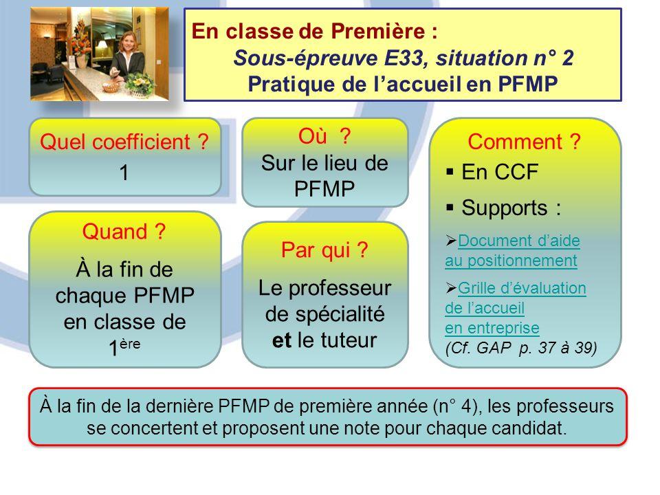 Sous-épreuve E33, situation n° 2 Pratique de l'accueil en PFMP