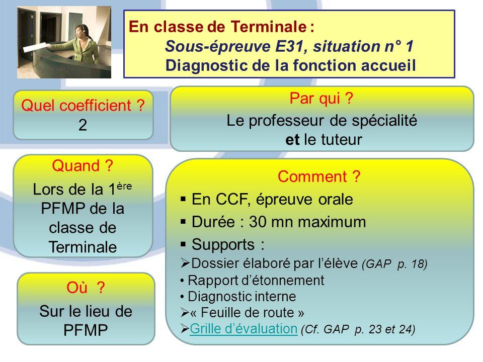 Sous-épreuve E31, situation n° 1 Diagnostic de la fonction accueil