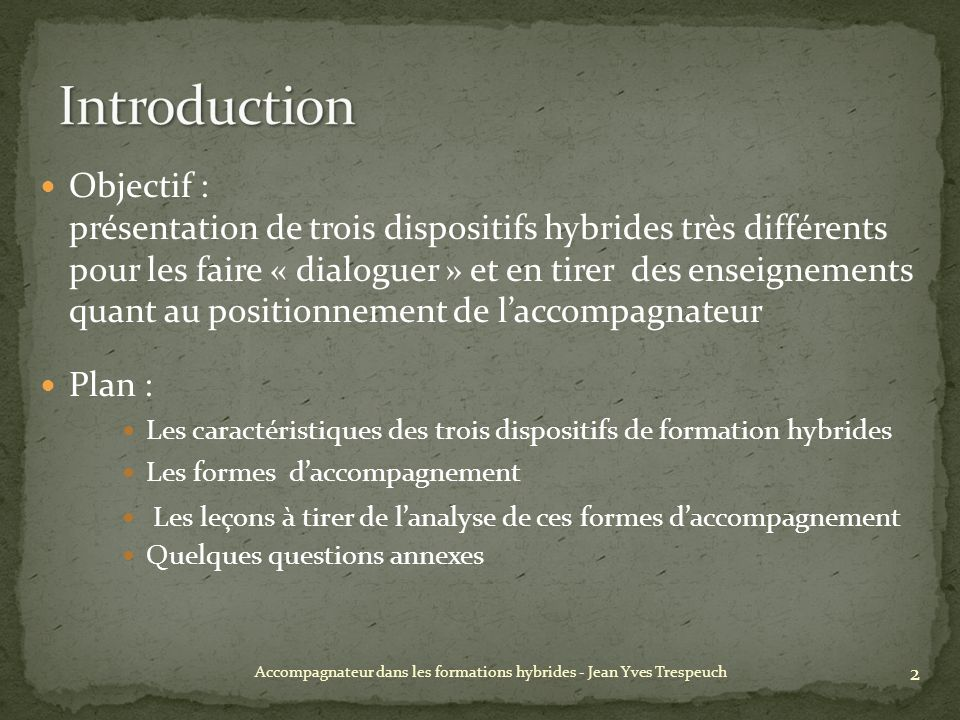 Accompagnateur dans les formations hybrides - Jean Yves Trespeuch