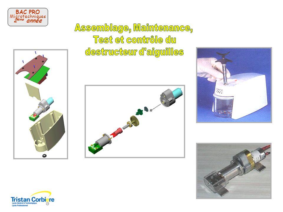 Assemblage, Maintenance, Test et contrôle du destructeur d aiguilles