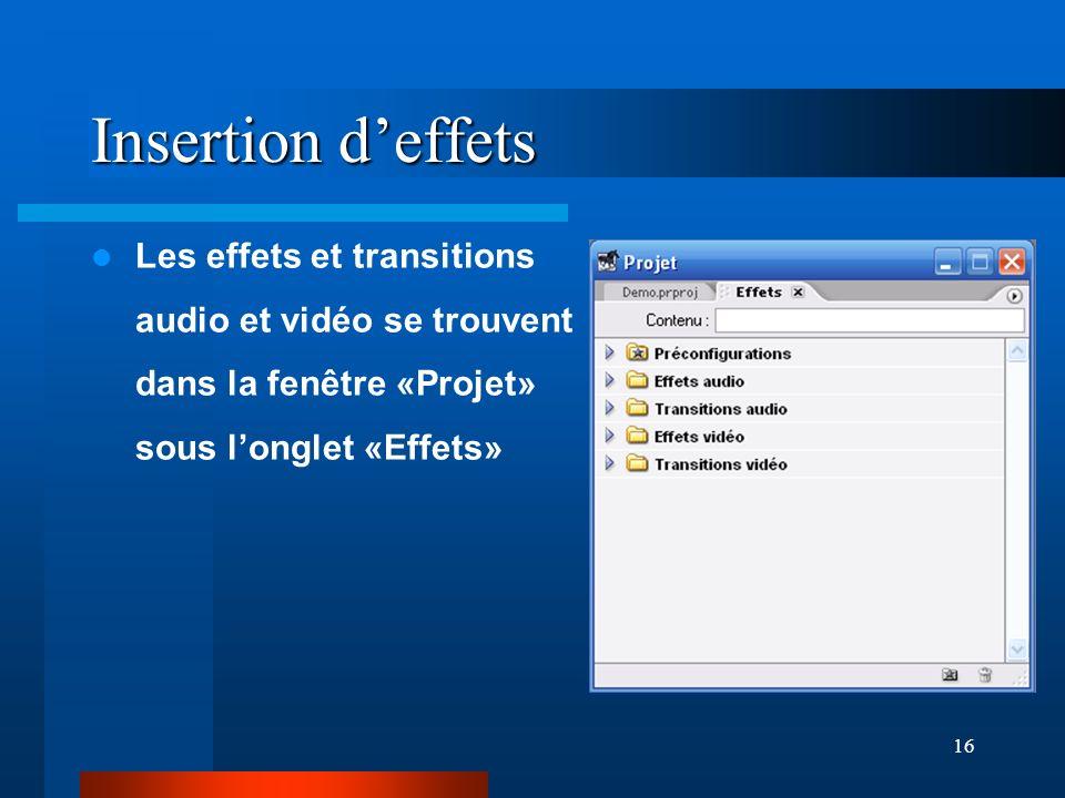 Insertion d'effets Les effets et transitions audio et vidéo se trouvent dans la fenêtre «Projet» sous l'onglet «Effets»