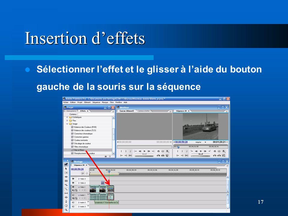 Insertion d'effets Sélectionner l'effet et le glisser à l'aide du bouton gauche de la souris sur la séquence.