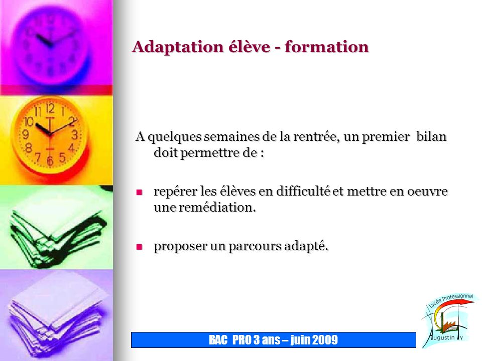 Adaptation élève - formation