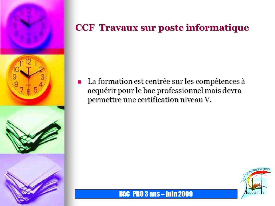 CCF Travaux sur poste informatique