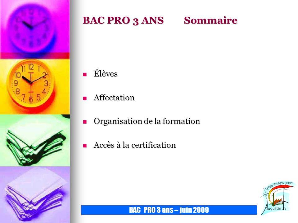 BAC PRO 3 ANS Sommaire Élèves Affectation Organisation de la formation