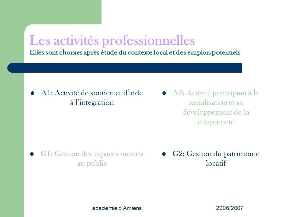 Les activités professionnelles Elles sont choisies après étude du contexte local et des emplois potentiels