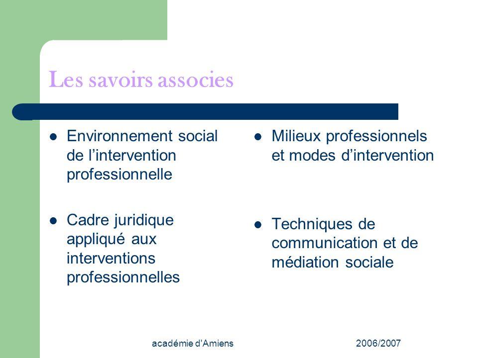 Les savoirs associes Environnement social de l'intervention professionnelle. Cadre juridique appliqué aux interventions professionnelles.