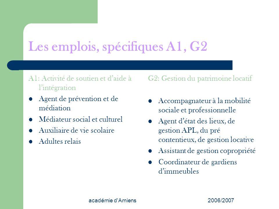 Les emplois, spécifiques A1, G2