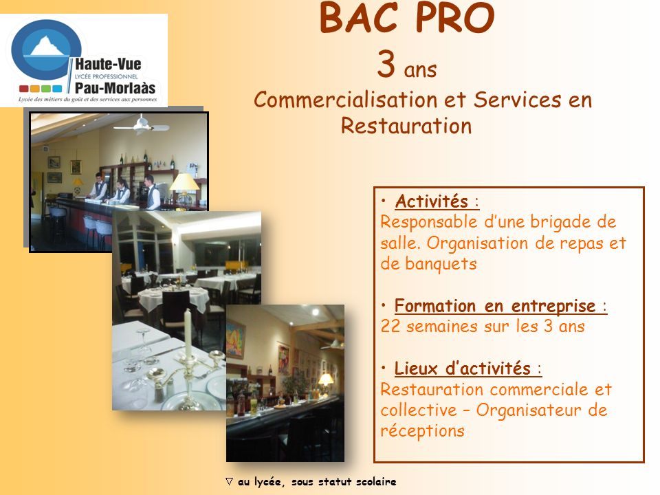 BAC PRO 3 ans Commercialisation et Services en Restauration