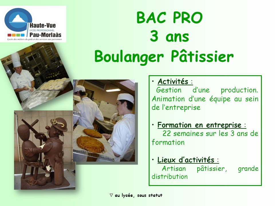 BAC PRO 3 ans Boulanger Pâtissier Activités :