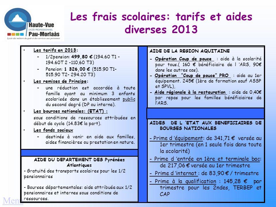 Les frais scolaires: tarifs et aides diverses 2013