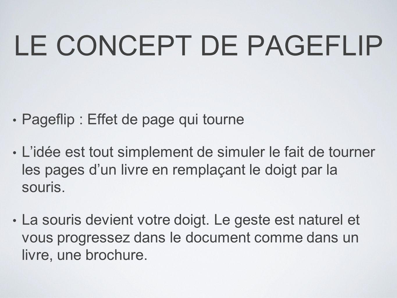 LE CONCEPT DE PAGEFLIP Pageflip : Effet de page qui tourne