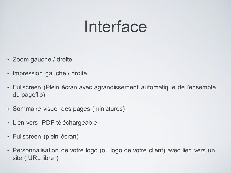 Interface Zoom gauche / droite Impression gauche / droite