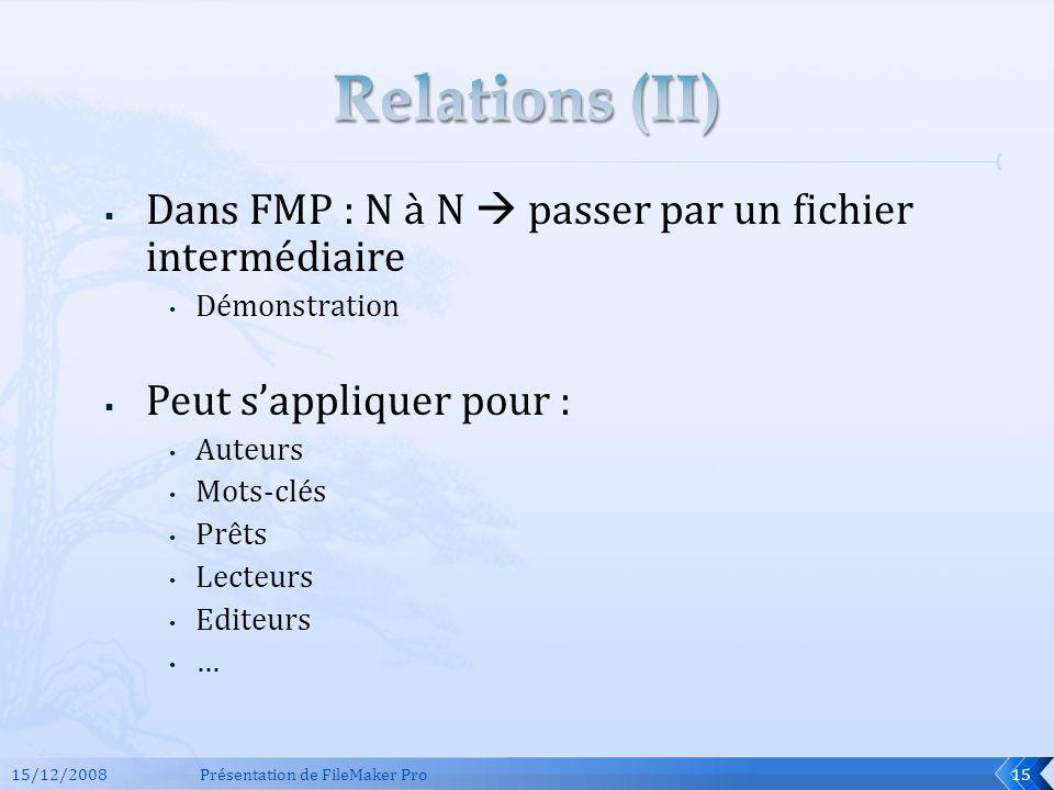 Relations (II) Dans FMP : N à N  passer par un fichier intermédiaire